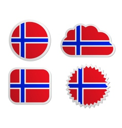 Norway flag labels vector image vector image