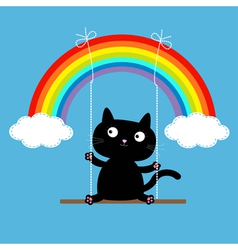 Rainbow two clouds in the sky and cat on the swing vector image vector image