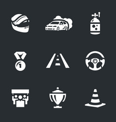 set of auto rally icons vector image