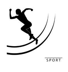 Silhouette of an athlete running logo vector
