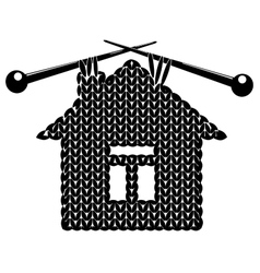 The silhouette knitted house vector image