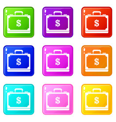 briefcase full of money set 9 vector image vector image