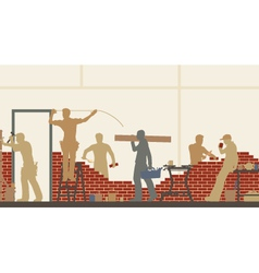 Builders at work vector image