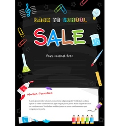 Event Back to School Sale black chalkboard Poster vector image