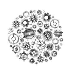 Glossy metal cogwheels arranged in a circle shape vector image vector image