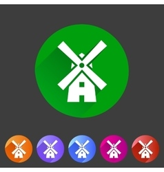 Mill windmill icon flat web sign symbol logo label vector image