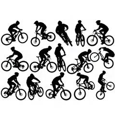 mountain biker silhouettes vector image vector image