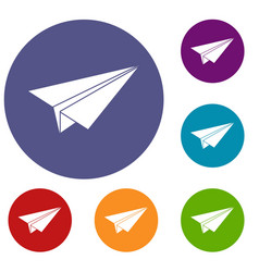 paper airplane icons set vector image