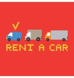 Pixel art rent a car card vector image