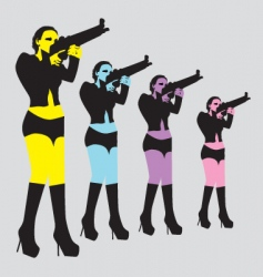 sexy woman with gun vector image