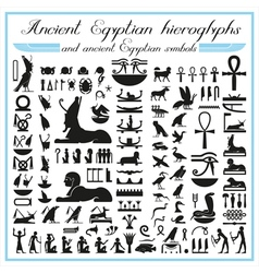 Ancient Egyptian hieroglyphs and symbols vector image vector image