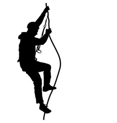 Black silhouette rock climber on white background vector image