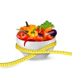 Diet meal Vegetables in a bowl with measuring tape vector image vector image
