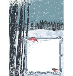 Frame on a winter landscape vector image vector image
