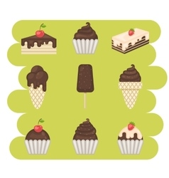 Ice cream and cake set vector image