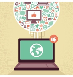 laptop with social media icons vector image vector image