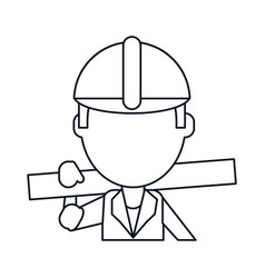 man construction wooden board and tool belt thin vector image