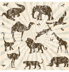 retro grunge with animals vector image vector image