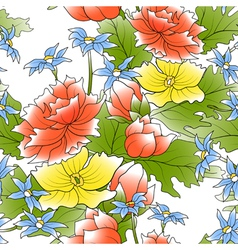seamless of a color flowers and green leafs vector image