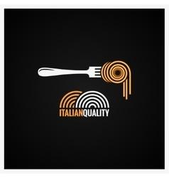 Spaghetti pasta on fork background vector