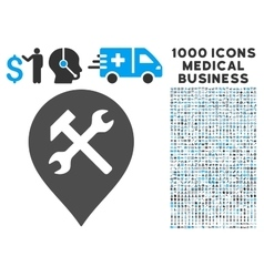 Workshop Map Marker Icon with 1000 Medical vector image vector image
