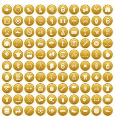 100 kettlebell icons set gold vector