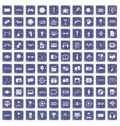 100 video icons set grunge sapphire vector image