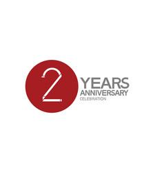 2 years anniversary logotype design with big red vector