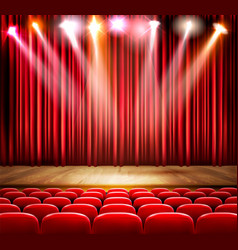 A theater stage with spotlight festival show vector