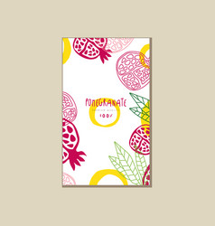 Abstract card with ripe halves of pomegranate vector