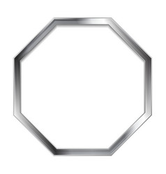 Abstract metallic silver blank hexagon frame vector image