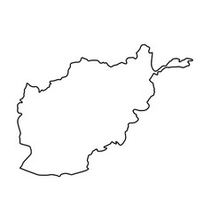 Afghanistan map of black contour curves on white vector