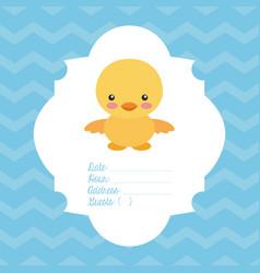 Animal cute baby shower invitation vector