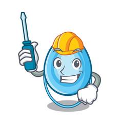 Automotive oxygen mask mascot cartoon vector