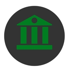 Bank flat green and gray colors round button vector