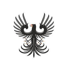 black eagle heraldry symbol isolated bird mascot vector image