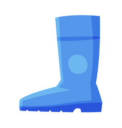Blue rubber boot side view flat style vector