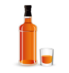 Bottle alcohol drink and stemware whisky vector