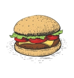 Burger engraving style vector