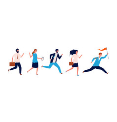 business people running leader couching manager vector image