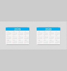 Calendar of 2019 and 2020 years template vector