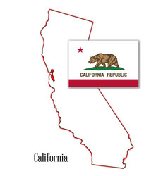 California state map and flag vector
