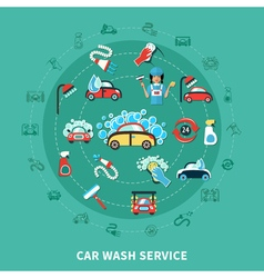 Car Wash Round Composition vector