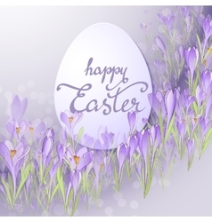 card for Easter Floral frame with crocuses vector image