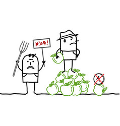 Cartoon farmers protesting against apples pricing vector