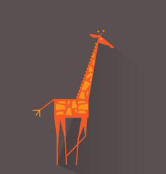 cartoon giraffe flat animal for poster flyer vector image