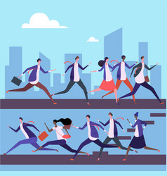 cartoon men and women run to work vector image