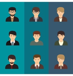 cartoon of a handsome young man with various vector image