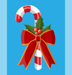 Christmas candy cane with red bow holly berries vector