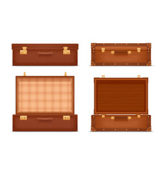 closed and opened vintage suitcases vector image